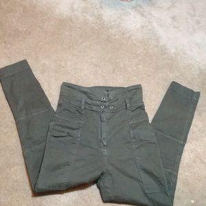 Top shop OLIVE size 6 HIGH WAIST TIE FRONT PANTS